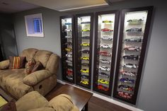 These Bertby wall-mounted display cabinets are popular with diecast collectors. They were once sold at Ikea until a recall caused Ikea to drop them. They can be wall mounted or recessed. Very stylish way to display your models or other collectibles.