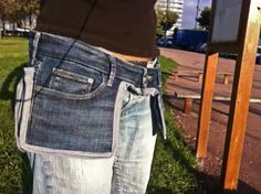 From RECYCLART...Jeans Saddlebags. What a great way to re-use old jeans! Who needs a purse after one of these? LOL! I could see making one of these to wear while traveling.