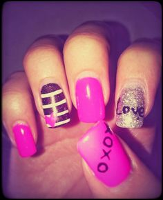 Pink,  silver & black funky nails
