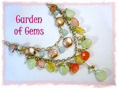 Sterling Silver - Summer Rose Blossoms - Artisan 2 Strand Wrapped Necklace - Rose Quartz, Jade, Rose Rutilated Quartz, Coin Pearls