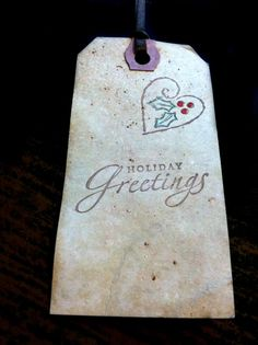 Christmas Greetings Vintage Distressed Hang by FoothillCrafters #foothillcrafters #etsy #vintagetags #greetings #stampedtags #manilatags #labels #gift_tags