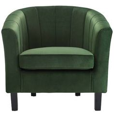 House of Hampton Wilbur Channel Armchair Upholstery Color: Emerald Retro Armchair, Velvet Armchair, Velvet Chairs, Take A Seat, Love Seat, Industrial Dining Chairs, Dining Bench, Barrel Chair, Diy Chair