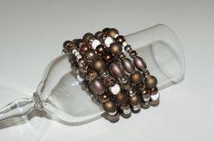 Brown Brown bracelet Brown jewelry Wrapped by LesBijouxLibellule Brown Necklaces, Metal Necklaces, Beaded Bracelets, Wrap Bracelets, Prom Jewelry, Purple Jewelry, Wedding Jewelry, Wire Necklace, Earrings