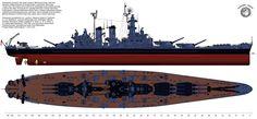 "The battleship USS ""North Carolina"" (BB-55) at the end of year 1945."