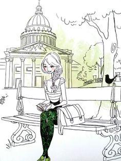Cute drawing 2/2, smart parisian girl