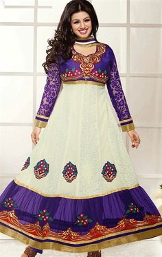 Wonderful White and Purple Color Fashion Anarkali Suit
