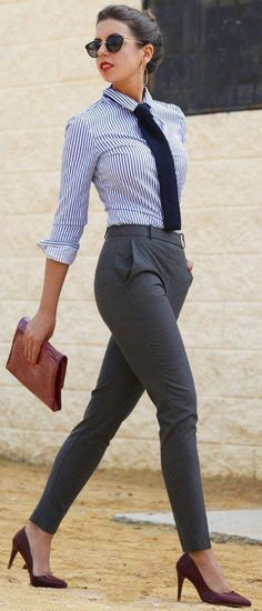Classic strong pants + striped shirt= office stylish look