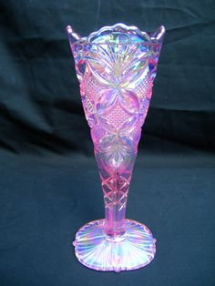 "Fenton Pink ""Carnival Glass"" Vase. Beautiful, via Etsy."