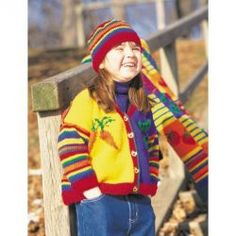 Knitting Patterns Galore - Veggies and Stripes Cardigan and Hat
