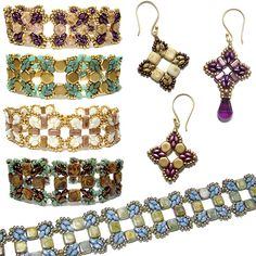 Roundabout Beaded Bracelet and Earrings by Deborah Roberti   Bead-Patterns.com