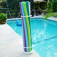 PVC Pool Noodle Organizer for $49 #PoolsideAccessories #PoolBeach
