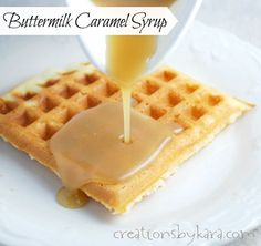 Homemade Caramel Buttermilk Syrup (without corn syrup) - Recipe for amazing caramel buttermilk syrup. This syrup is epic! There is a reason it is my most popular recipe-- it is fantastic on pancakes, waffles, and so many more breakfast recipes! What's For Breakfast, Breakfast Dishes, Breakfast Recipes, Brunch Recipes, Think Food, Love Food, Caramel Syrup Recipe, Waffle Syrup Recipe, Syrup Recipes