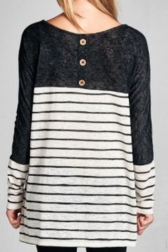 Button Back Solid and Stripe Top