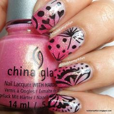 Pink ombre/gradient nails with stamping by nailstamp4fun