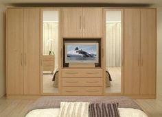 Gambar Model Lemari Pakaian Rumah Minimalis Terbaru 7 - Pakaian + TV Bahan Kayu