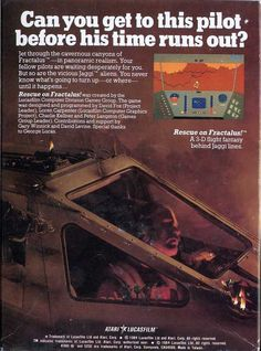 """Advertisement for """"Rescue on Fractalus,"""" a first-person flight game developed by Lucasfilm Games for the Commodore 64, Apple II, and other home computer, and released in 1984."""