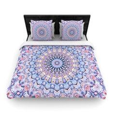 "Iris Lehnhardt ""Summer Lace II"" Circle Purple Woven Duvet Cover | KESS InHouse"