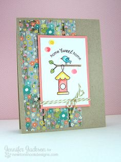 For LF birdhouse set   Birdhouse Card using Tweet Talk Stamp set by Newton's Nook Designs