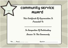 community service certificate of appreciation - Community Service Hours Certificate Template
