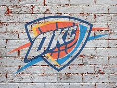 okc thunder | Oklahoma City Thunder Logo On Grey Brick Wall 1600x1200 DESKTOP NBA ...