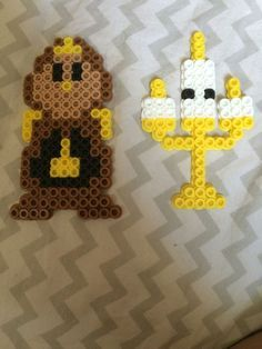 Lumiere and cogsworth, the lamp and the clock, from Disney's beauty and the beast perler beads