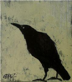 hunch original crow painting on recycled wood block Crow Painting, Gravure Illustration, Crow Bird, Raven Art, Jackdaw, Crows Ravens, Wood Blocks, Bird Art, Sculpture
