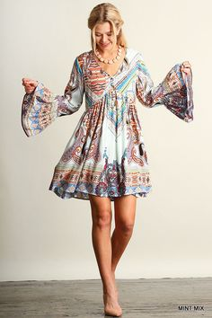 Bell Sleeves Bohemian Flare Dress