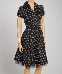Look what I found on #zulily! HEARTS & ROSES LONDON Black & White Small Dot Shirt Dress by HEARTS & ROSES LONDON #zulilyfinds