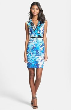 $138, White and Blue Print Sheath Dress: Marc New York by Andrew Marc Garden Print Sheath Dress Blue Jay 12p. Sold by Nordstrom. Click for more info: http://lookastic.com/women/shop_items/111397/redirect