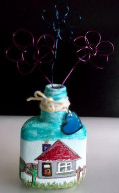 Adventures in Art & Crafting Nail Polish Bottles, Altered Art, Art Projects, Mixed Media, Arts And Crafts, Nail Art, Vase, Christmas Ornaments, Holiday Decor