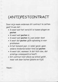 (eenvoudig) anti-pestcontract  meester Henk - ANTI-PESTEN :: antipesten.yurls.net  lesideeën Effects Of Bullying, Anti Bullying, School Organisation, Teacher Tools, Social Skills, Psychology, Coaching, Classroom, Positivity