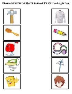 Useful tools matching game Free Kindergarten Worksheets, Kindergarten Reading, Rainbow Activities, Preschool Lesson Plans, Hairbrush, Hair Simple, Matching Games, Early Childhood Education, Young Children