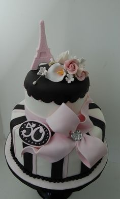 Paris Themed Birthday Cake - Here?s a cake I made this past weekend for a clien? She was having a Paris themed party and this cake fit perfectly. Original design by Cakes by Roselyn. Paris Birthday Cakes, Paris Themed Cakes, Themed Birthday Cakes, 50th Birthday, Birthday Wishes, Birthday Invitations, Birthday Ideas, Happy Birthday, Bolo Paris