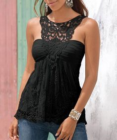 Fashionable Scoop Neck Lace Splicing Backless Tank Top For Women Vests & Tank Tops | RoseGal.com Mobile