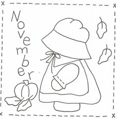 Sunbonnet Sue BOM - November Stitchery Pattern LQC-S11 by Little Quilts - Mary Ellen Von Holt. Make a little calendar quilt, embellish a pillowcase, decorate a shirt or sew a fabric greeting card. Embroidery Designs, Folk Embroidery, Paper Embroidery, Embroidery Transfers, Hand Embroidery Patterns, Applique Patterns, Vintage Embroidery, Applique Quilts, Machine Embroidery