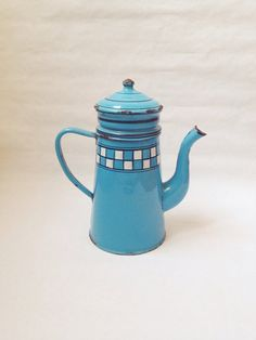 Vintage French Blue Biggin Enamelware Coffee by AbeilleAntiques, $72.00