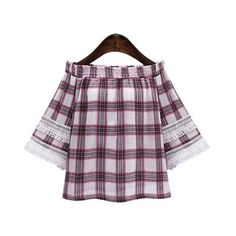 Off The Shoulder Plaid Fringed Blouse ($21) ❤ liked on Polyvore featuring tops, blouses, tartan top, plaid blouse, purple top, fringe blouse and purple blouse