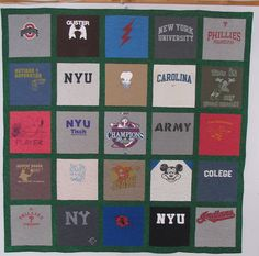 Basic t-shirt quilt with sashing.