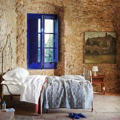 blue painted window