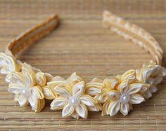Cream and White Tsumami Kanzashi Flower headband Handmade Custom orders Fabric Wedding flowers Headbands Brides Maids