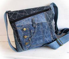 jeans bag, denim bag, pathwork bag, shoulder bag,messenger bag, handmade bag,recycled jeans