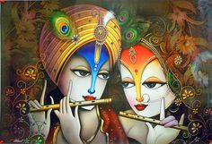 Radha Krishna -The Divine Lovers - Hindu Posters (Reprint on Paper - Unframed) Lord Krishna Images, Radha Krishna Pictures, Krishna Love, Krishna Art, Radhe Krishna, Indian Art Paintings, Canvas Paintings, Lord Vishnu Wallpapers, Art Beat