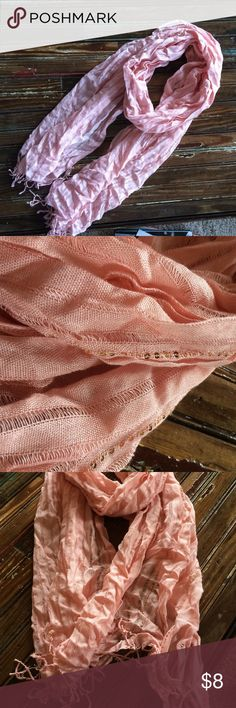 Blush Pink Scarf Lines of sequins throughout and lightweight. Great condition! Accessories Scarves & Wraps