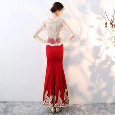 Chic / Beautiful Red With Shawl Evening Dresses 2019 Trumpet / Mermaid Beading Rhinestone Lace Flower Scoop Neck Sleeveless Ankle Length Formal Dresses Evening Dresses, Formal Dresses, Lace Flowers, Kebaya, Trumpet, Ankle Length, Shawl, Beading, Scoop Neck