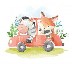 Animal friends in a car illustration Pre. Transportation Nursery, Alfabeto Animal, Car Themed Parties, Car Illustration, Jungle Theme, Cute Images, Nursery Prints, Cute Cartoon, Cute Drawings