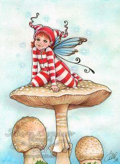 """Baby Fairy on Mushroom II"" • © Marta Sarmiento, 2013 • www.martash.com"