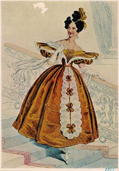 Evening Dress Fashion plate for the year 1833 Etching, coloured by hand after a drawing by E. T. Parris.  (Victoria and Albert Museum)   AK'...