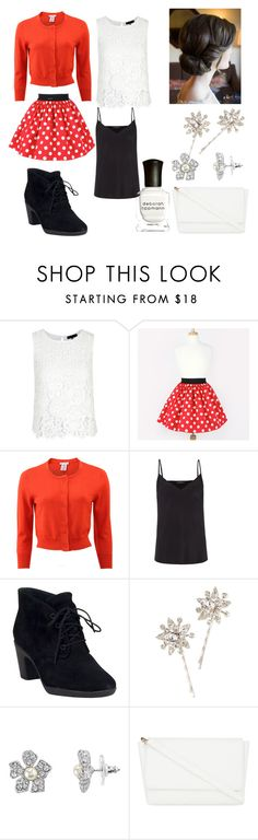 """""""Minnie Mouse inspired-outfit(Traditional Red)"""" by sapphirelilirose13 ❤ liked on Polyvore featuring Oscar de la Renta, Paul Smith, Clarks, Jennifer Behr, 1928, Skinnydip, Deborah Lippmann, women's clothing, women's fashion and women"""