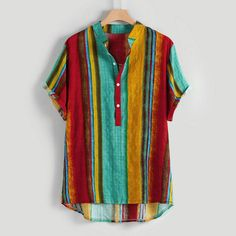 Summer Plus Size Men Shirts Ethnic Printed Stand Collar Colorful Stripe Short Sleeve streetwear Blouse Casual Beach shirt camisa Shorts Casual, Casual Shirts, Mens Cotton Shorts, Plus Size Men, Beach Shirts, Printed Shirts, Shirt Style, Men Casual, Sleeves