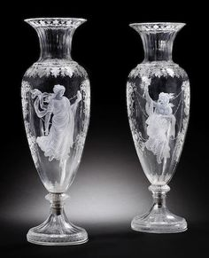 French glass vases, 1860-1870